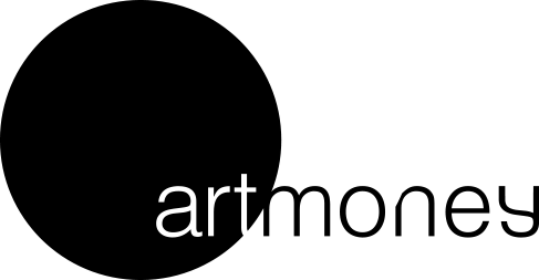 Logo for 'Art Money', large black circle with with and black text