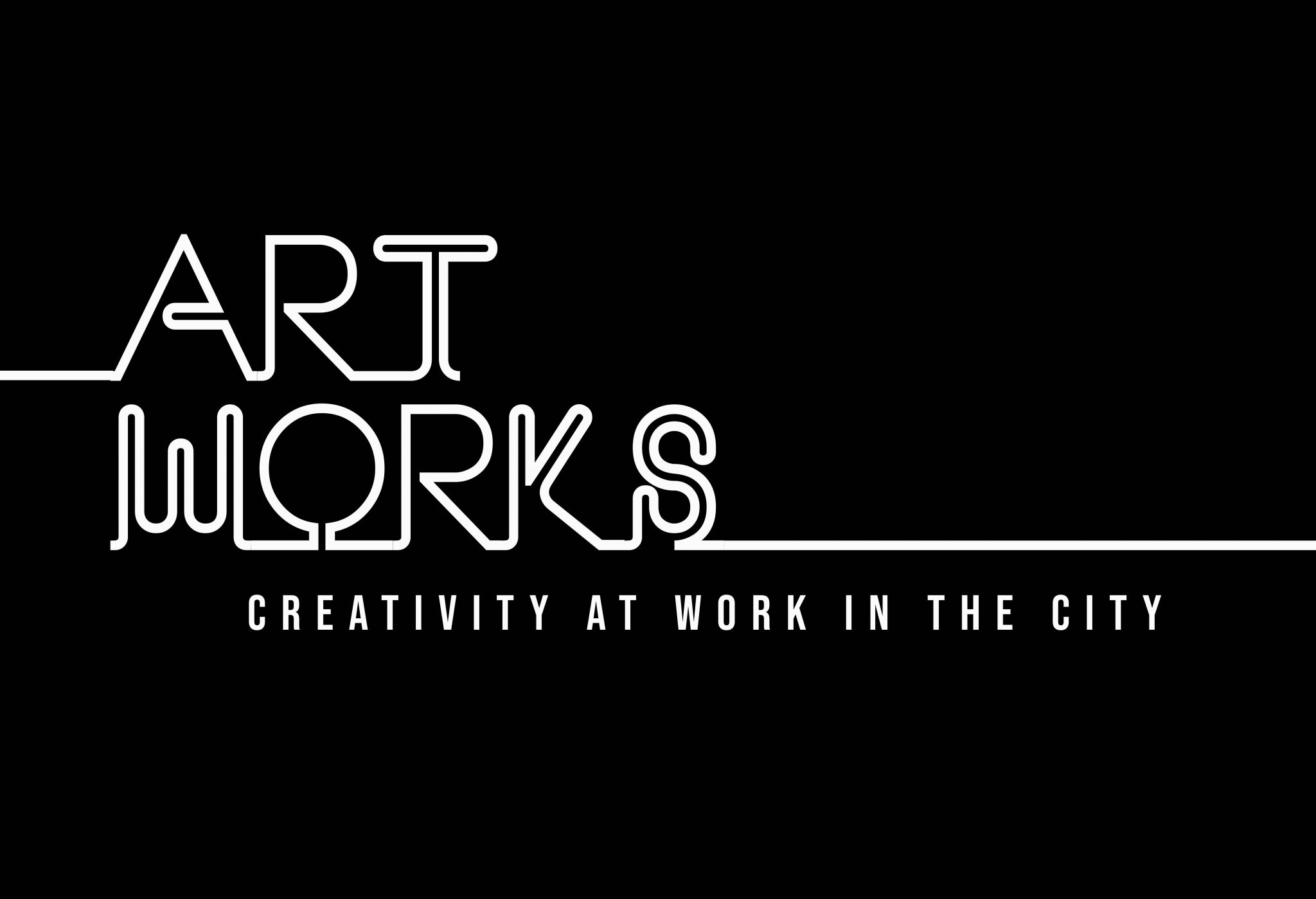 White text on top of a black background which reads 'art works: creativity at work in the city'