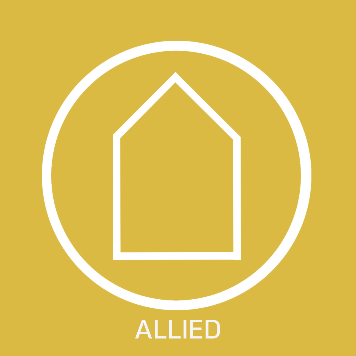 White Guildhouse logo with a yellow background, with the text 'allied' below
