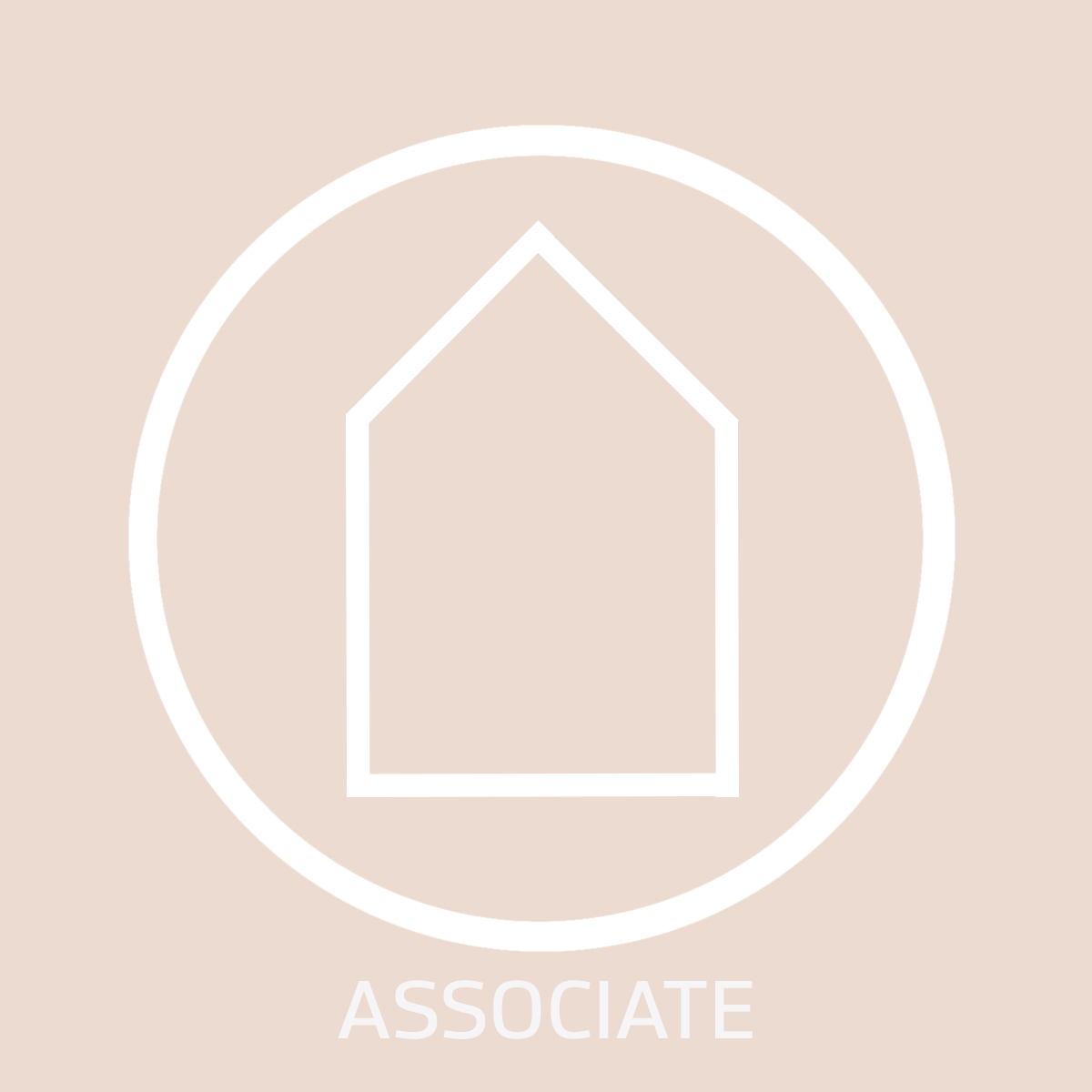 White Guildhouse logo with a pink background, with the text 'associate' below