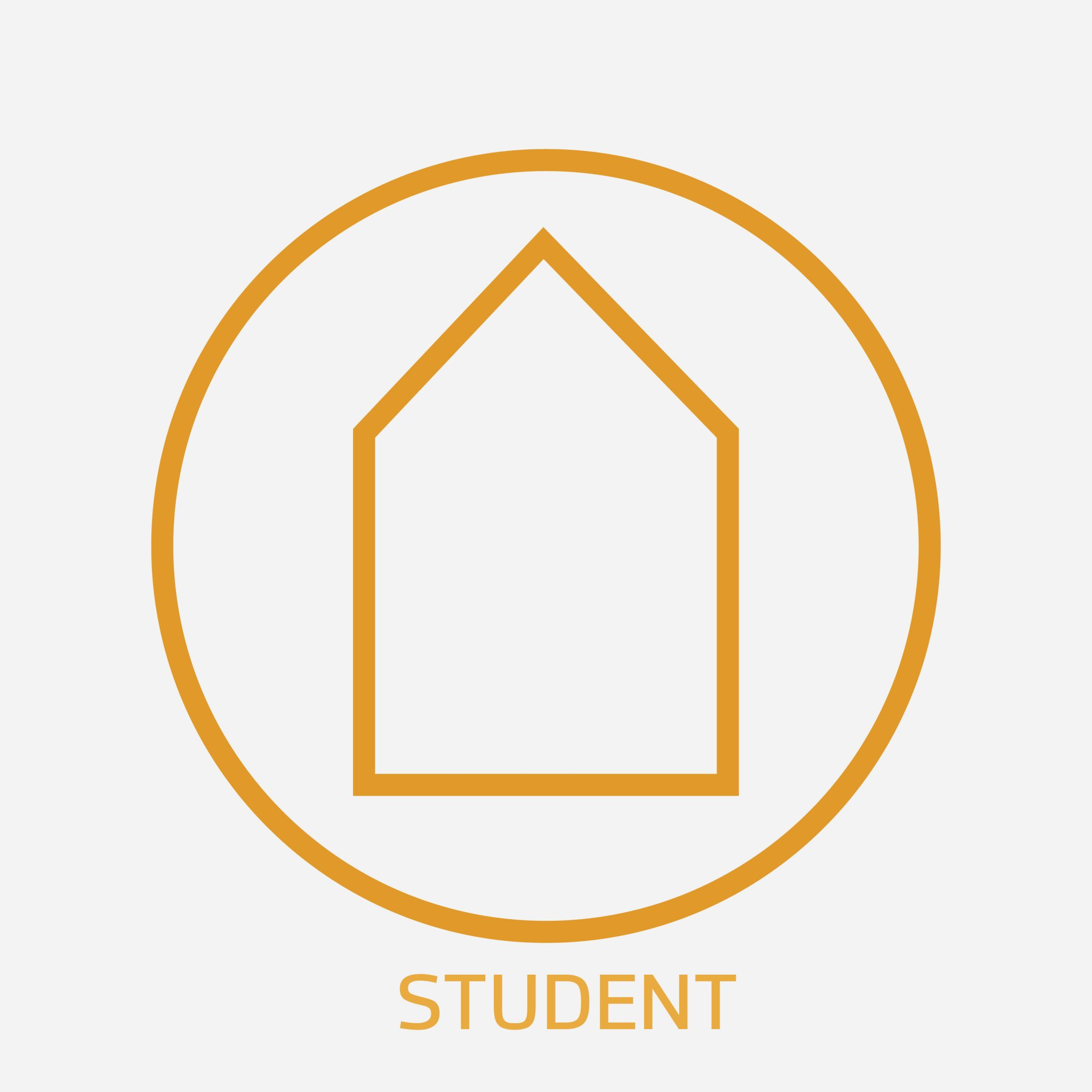 Orange Guildhouse logo with a white background, with the text 'student' below