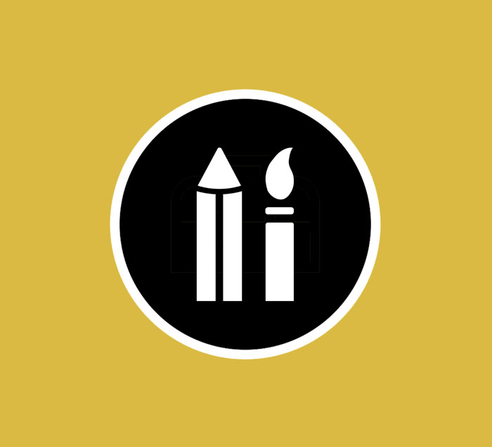 Simple black and white paintbrush and pencil logo, with a yellow background