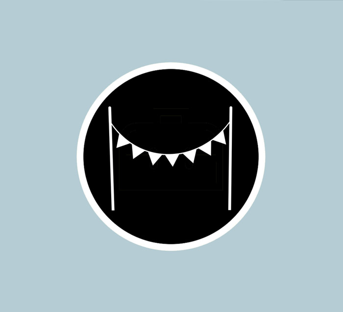Simple black and white bunting logo, with a blue background