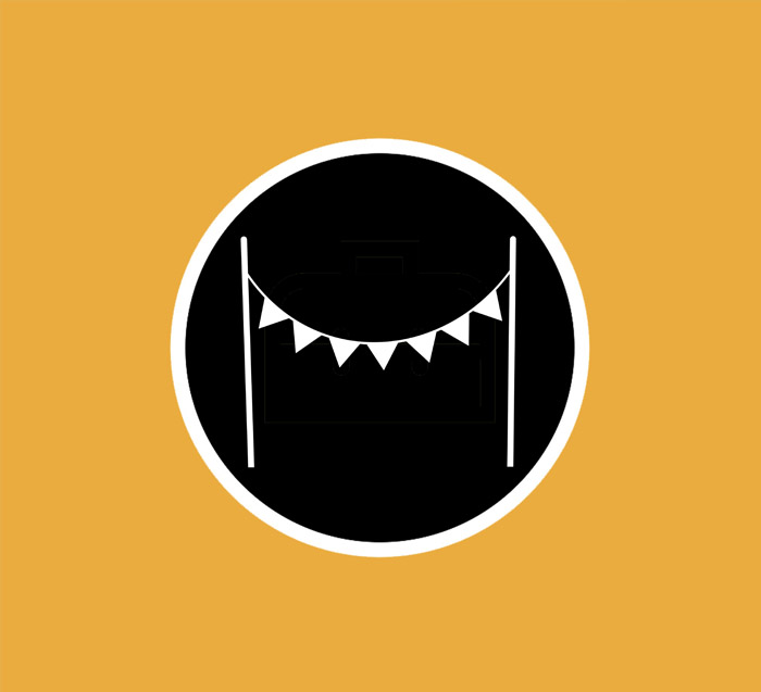 Simple black and white bunting logo, with an orange background