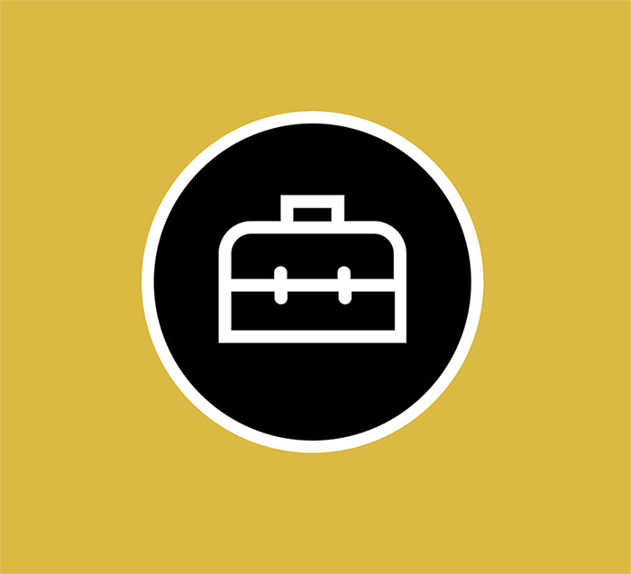 Simple black and white toolbox logo, with a yellow background
