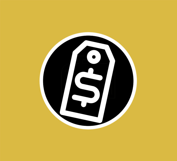 Simple black and white price tag logo, with a yellow background