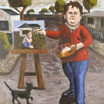 A painting by Tom Phillips of a man painting another portrait, while a cat looks up at the work