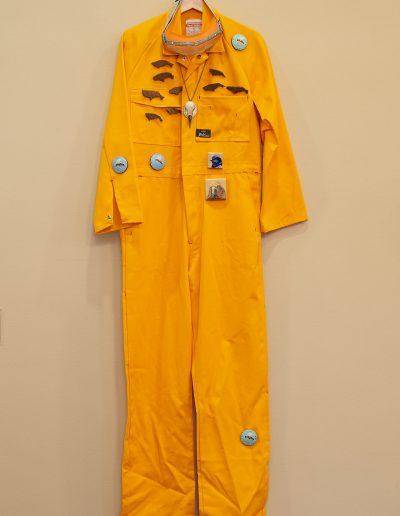 Image: SA Artists for Climate Action, 'Overalls', 'Bee Badges', Deirdre But-Husaim, 'Whale Badges', Sue Kneebone, 'Bird Badges' Zoe Freney, 2020. Photograph: Sam Roberts
