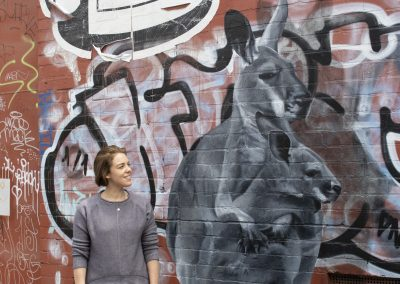 Image: Brooke Walker and her 'Little Oxford Street Roo Memorial', 2020.