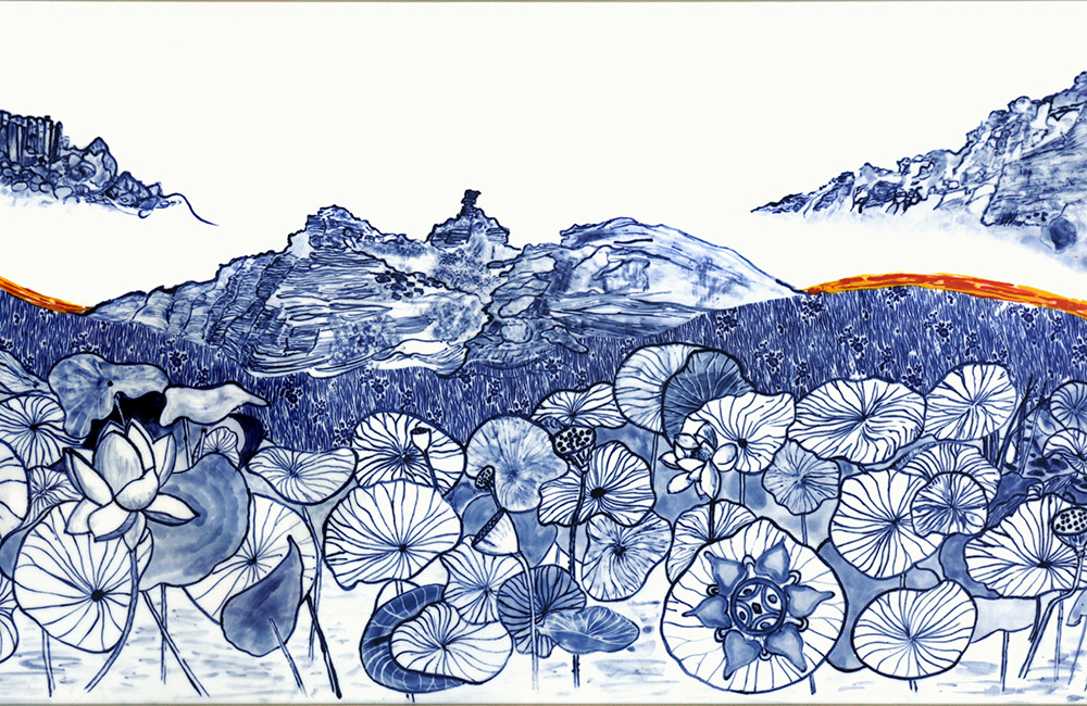 Indigo drawings of multiple lotus leaves and flowers.