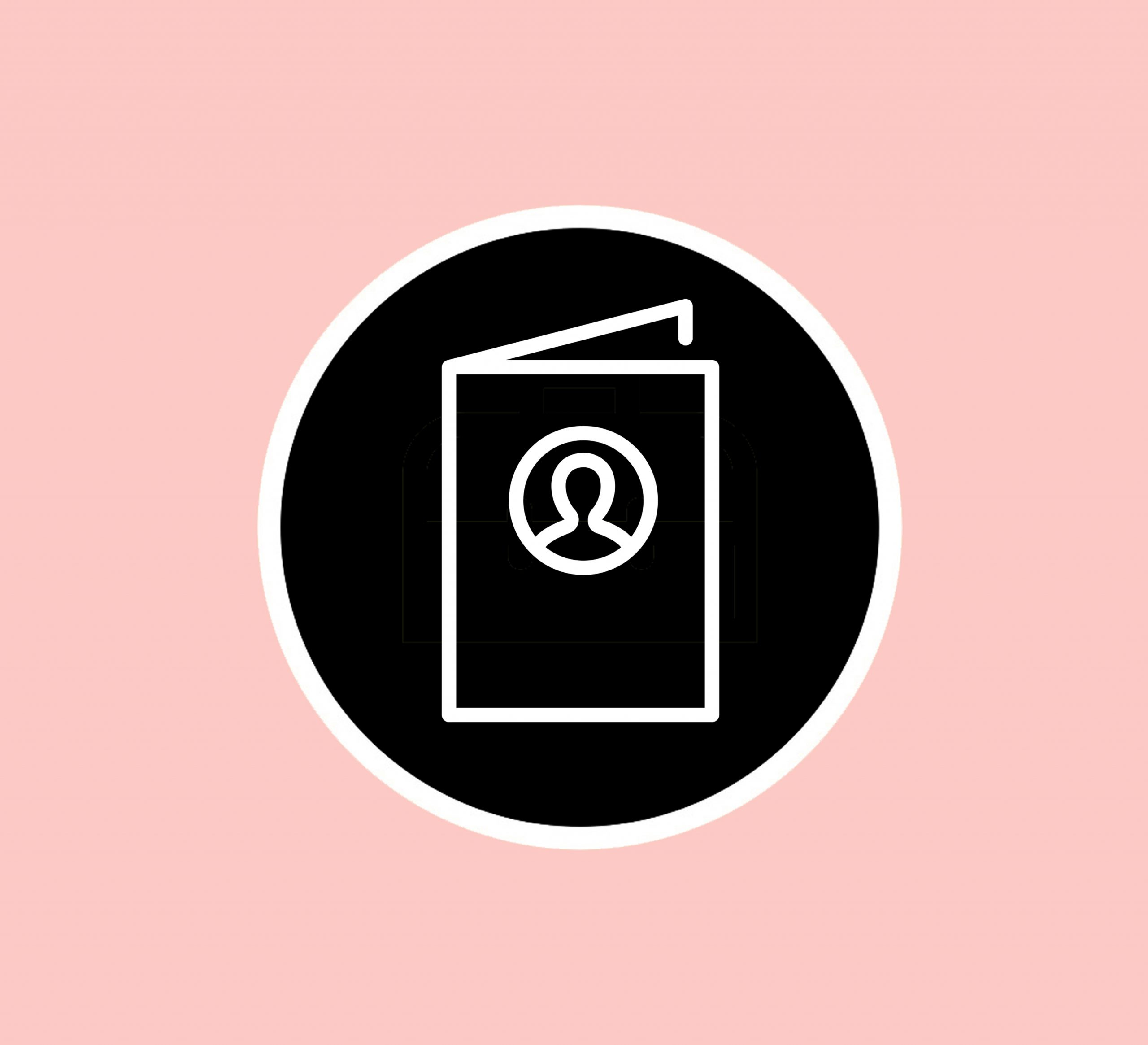 Simple black and white booklet logo, with a pink background