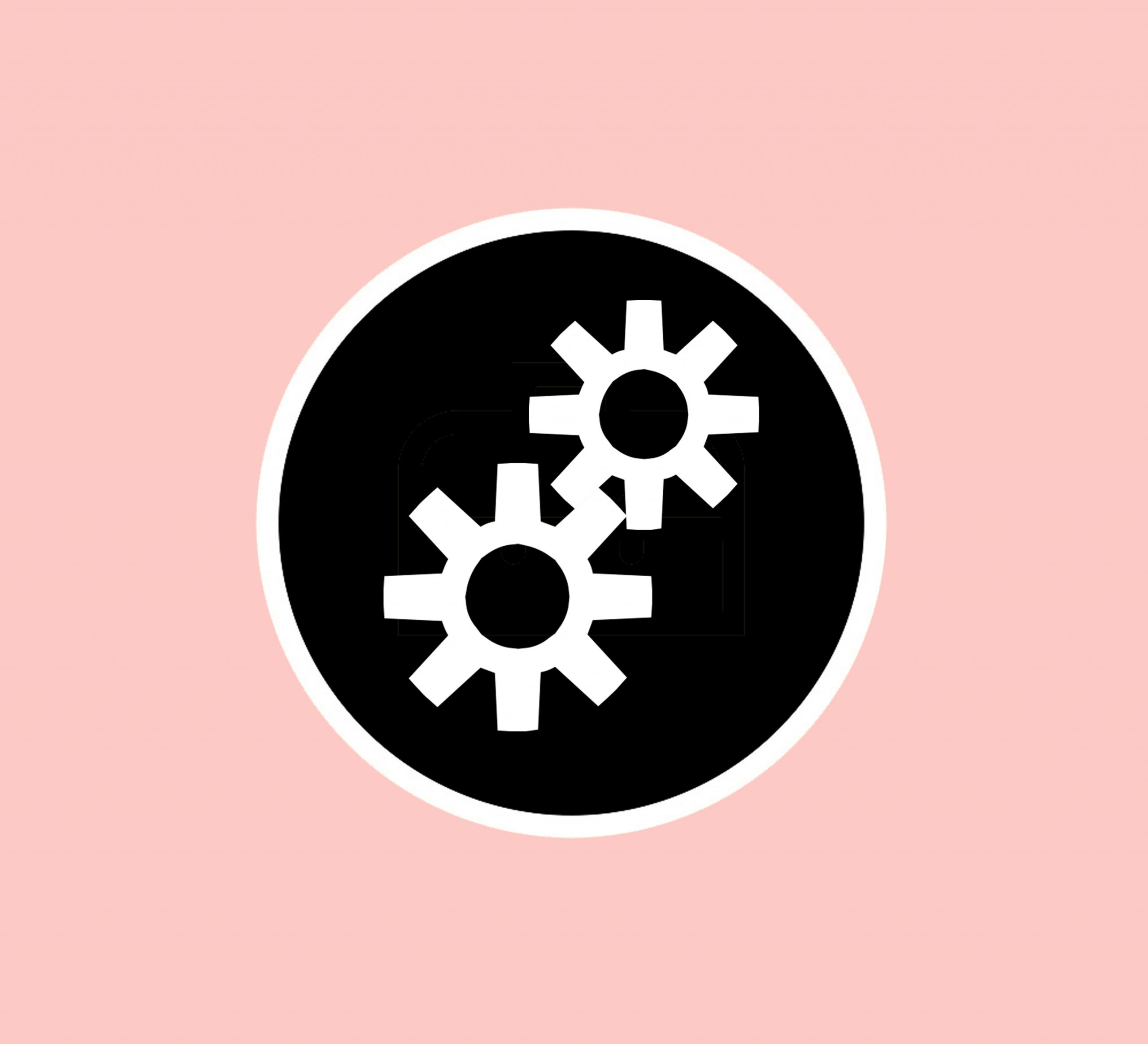 Simple black and white logo of two cogs, with a pink background